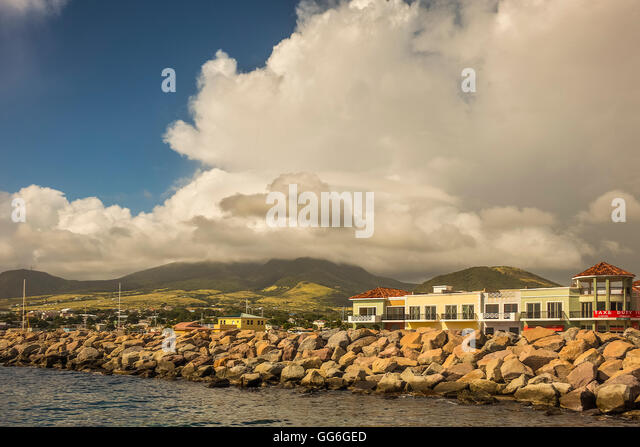 Duty Free Shop On The Foreshore Basseterra St Kitts West Indies - Stock Image