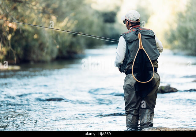 Fly fisherman using flyfishing rod in beautiful river. - Stock Image