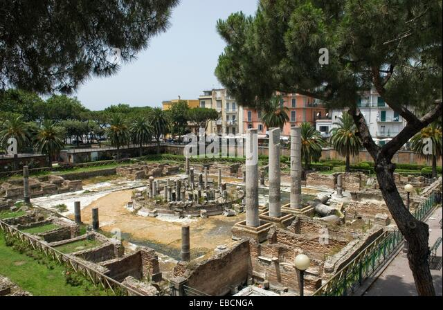 ancient antiquity archaeology architecture around building Campania color image column discover erroneously Europe - Stock Image