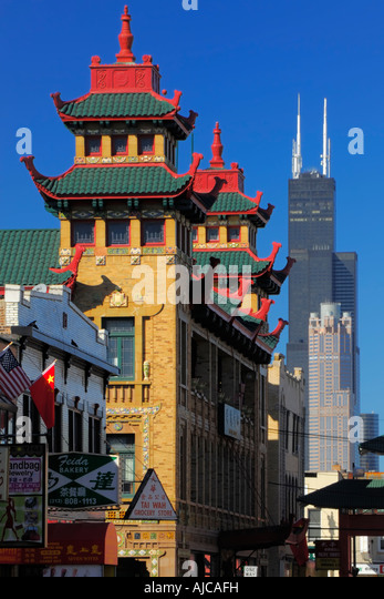 Chicago chinatown sears tower in stock photos chicago for Chinatown mural chicago