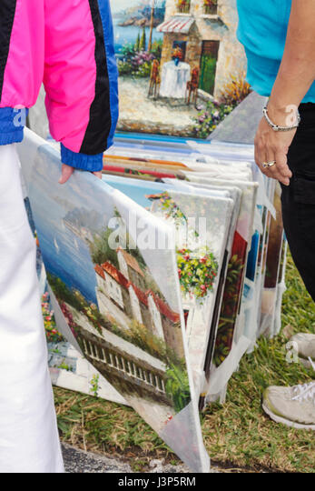 Miami Miami Florida Kendall St. Andrew Greek Orthodox Church Greek Festival man painting canvas art decor Greece - Stock Image