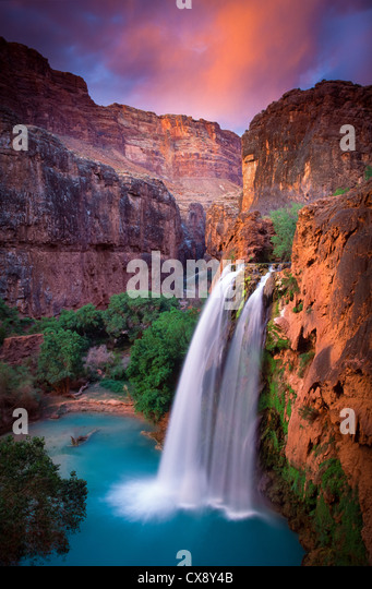 Havasu Falls in Havasu Canyon, a side canyon to the Grand Canyon in Arizona - Stock Image