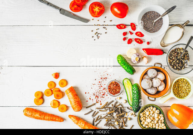 Products  for Middle East , Caucasian and Asian cuisine on the white table  top view - Stock Image