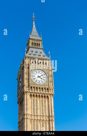 Big Ben in London, England photographed with a blue sky background - Stock Image