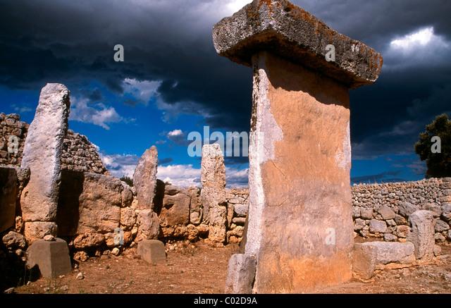 Taula in the Talayotic site of Trepuco Menorca, Balearic islands, Spain - Stock Image