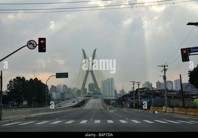 Octávio Frias Cable Bridge Sao Paulo Brazil - Stock Image