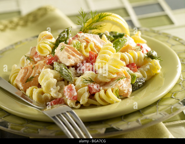 Salmon pasta salad - Stock Image