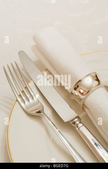 Place setting with cutlery, plate and napkin on a damask tablecloth - Stock Image
