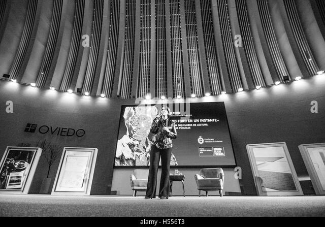 American writer, Valerie Miles, talks at conference of Richard Ford like winner of Princess of Asturias Awards of - Stock Image