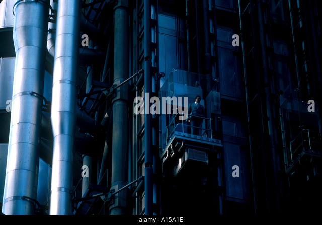Exterior lift on the Lloyd s Building designed by Richard Rogers City of London London England UK A Woolfitt - Stock Image