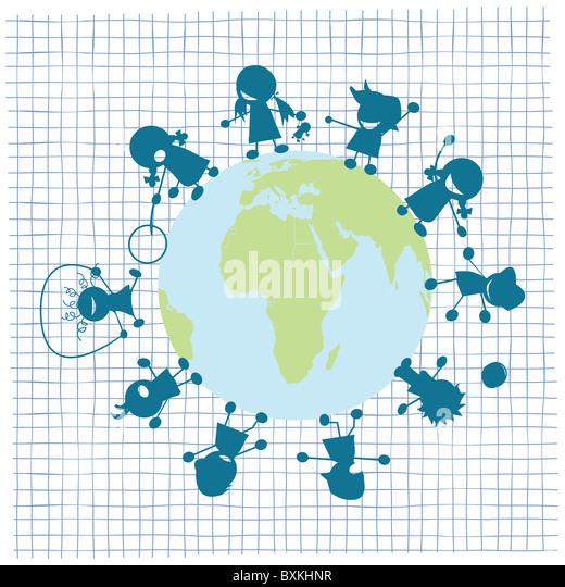 Children and globe illustration - Stock Image