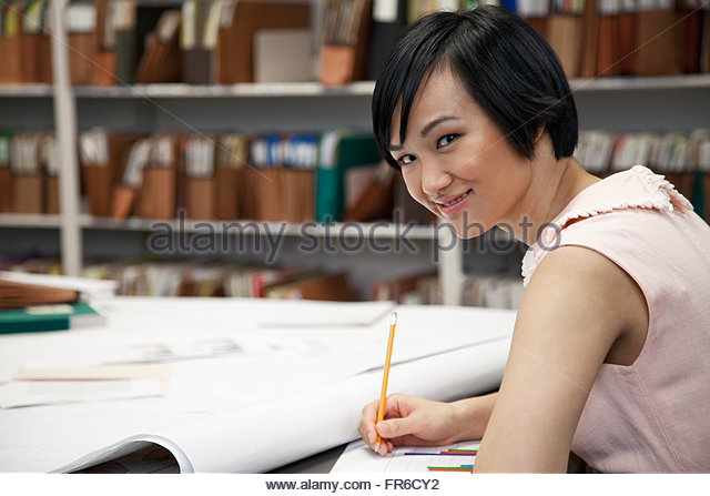 pretty, asian office worker - Stock Image