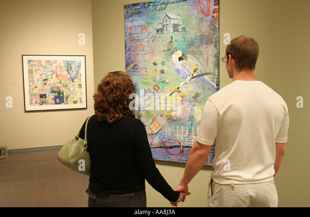 Alabama Huntsville Museum of Art couple - Stock Image