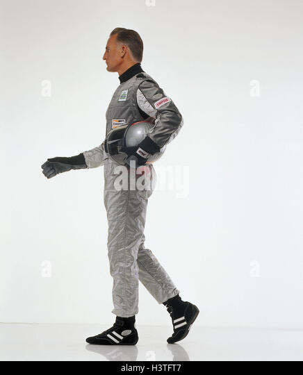 Motor sport, racing driver, overall, helmet, silver, motion, go, side view, sport, racing sport, man, racing suit, - Stock Image