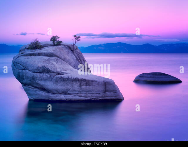Bonsai Rock at sunrise. Lake Tahoe, Nevada - Stock Image