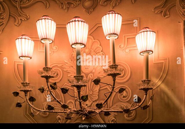 La Fenice opera theater, lamps,  Venedig, Venezia, Venice, Italia, Europe, - Stock Image