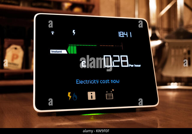 chameleon technology smart meter, the display shows the cost of energy being used in a home. - Stock Image