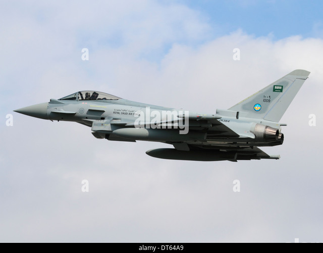 Military aviation. Eurofighter Typhoon fighter jet of the Royal Saudi Air Force on takeoff - Stock Image