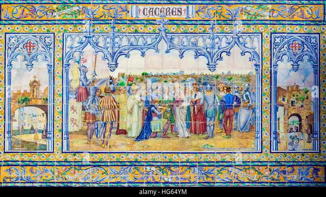 Glazed tiles wall of spanish province of Caceres at Plaza de Espana, Seville, Spain - Stock Image