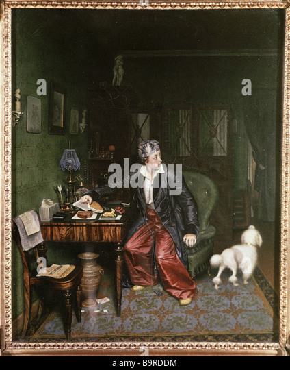 A copy of Pavel Fedotov s picture Aristocrat s Breakfast from the collection of the State Pushkin Fine Arts Museum - Stock Image