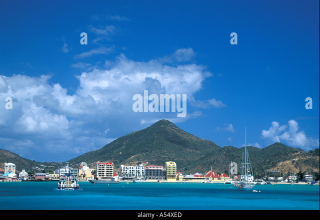 St Maarten Netherlands Antilles Caribbean Philipsburg as seen from the water - Stock Image