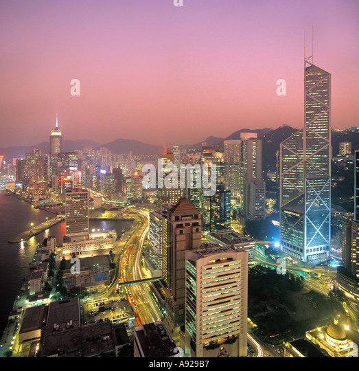 View over Central District at Night taken in 1992, Hong Kong Island, Hong Kong, China, - Stock Image