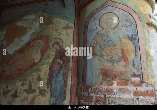 Russia former Soviet Union Kirillov Kirill Belosersk Monstery religious frescoes detail - Stock Image