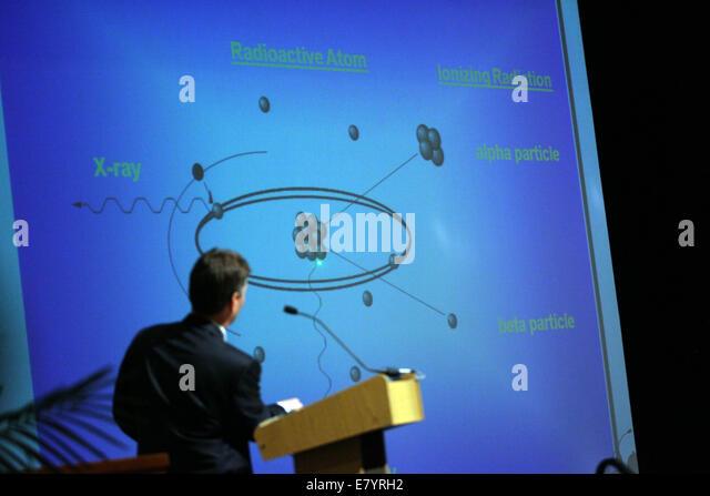Feb 9, 2010 - Loxahatchee, Florida, U.S. - JOHN WILLIAMSON, Administrator Bureau of Radiation, shows what a radioactive - Stock Image