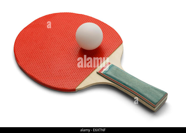 Table Tennis Paddle and Ping Pong Ball Isolated on White Background. - Stock Image