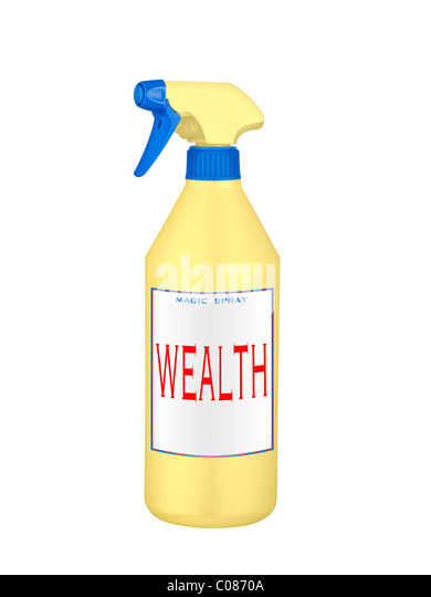 wealth magic spray isolated on white - Stock Image