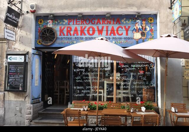 Pierogarnia Krakowiacy restaurant in the Old Town of Krakow, Poland, Central/Eastern Europe, June 2017. - Stock Image