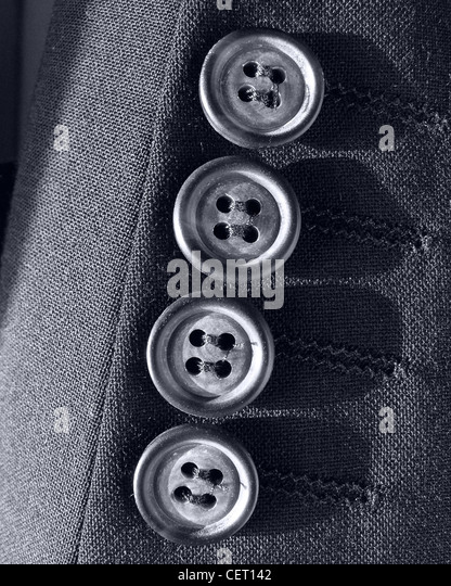 Four buttons on a quality suit Tailor tailoring - Stock Image