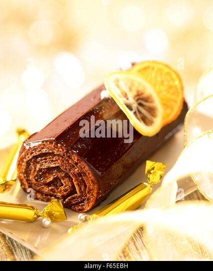 crunchy christmas log - Stock Image