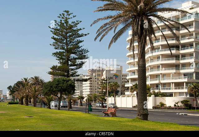 Tower blocks along the shore road in Sea Point near Cape Town, South Africa, Africa - Stock Image