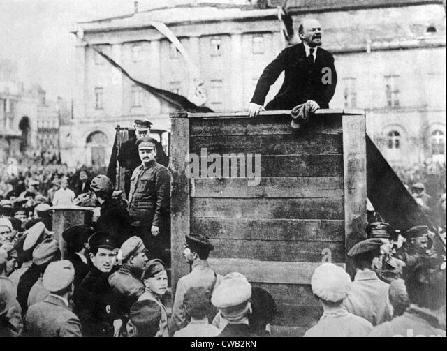 Vladimir Ilyich Aka Nicolei Lenin Delivers Speech While Leon Trotsky Stock Photos Images Alamy