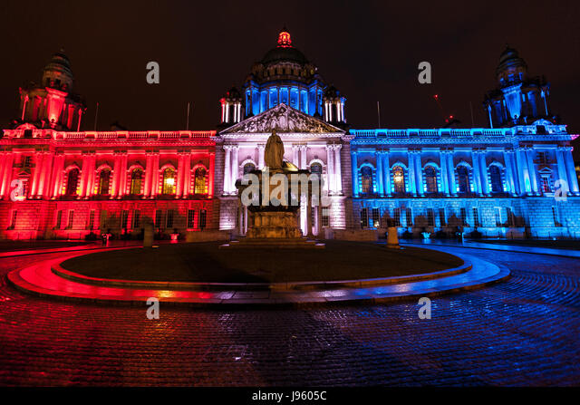 Belfast, Northern Ireland. 05th June, 2017. 5th June 2017. Belfast City hall lit up Red, White and Blue In memory - Stock Image