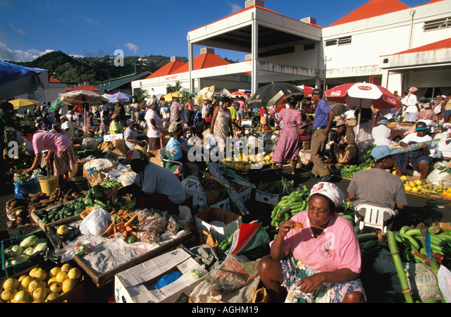 St Lucia Island Caribbean Castries market vendors selling fresh fruit vegetables produce market - Stock Image