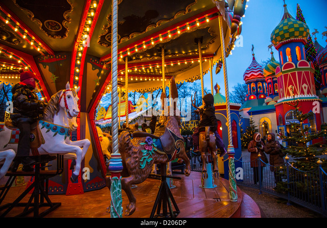 Christmas market copenhagen tivoli stock photos for Amusement park decoration ideas
