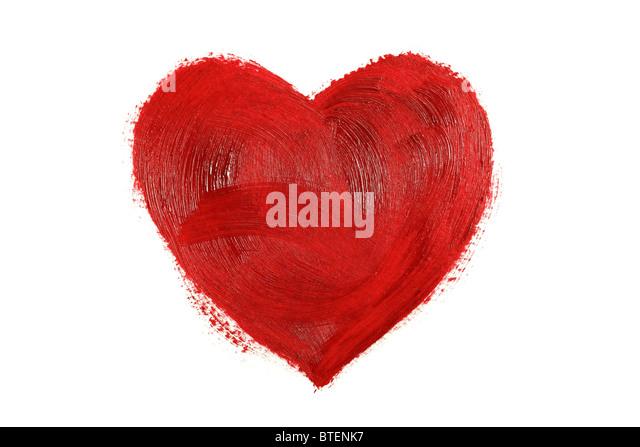 Painted red heart - Stock-Bilder