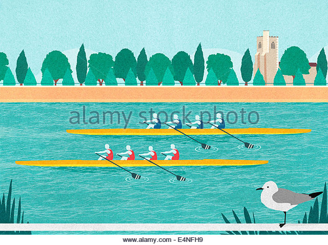 Rowers in rowing boat race on River Thames, Putney - Stock Image