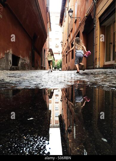 Reflection runners - Stock Image
