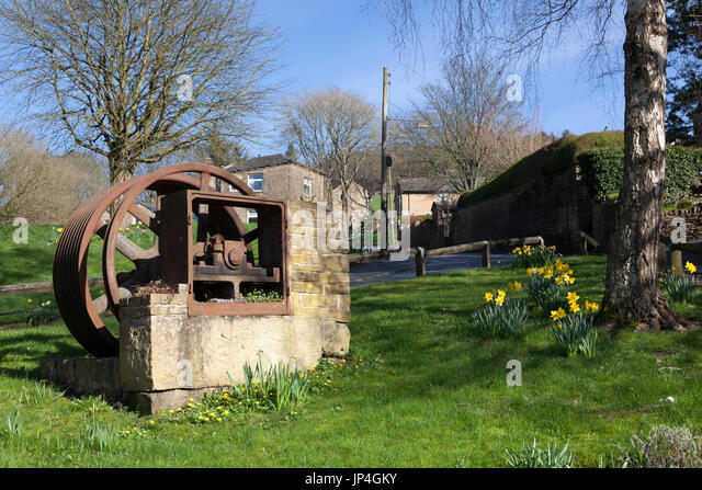 Preserved remains of the old corn mill, Luddenden, West Yorkshire - Stock Image