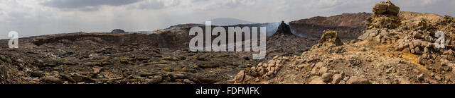 Panorama showing the new Hornito at the north end of Erta Ale's caldera - Stock Image