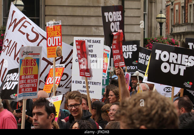 London, UK - 1 July 2017 - Demonstrators took to the streets in a national demonstration demanding for an end of - Stock Image