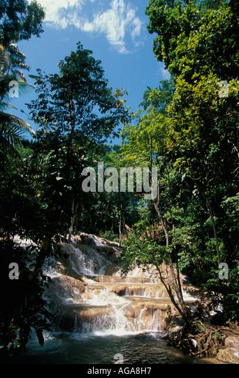 Jamaica Dunn's River Falls Ocho Rios Jamaican landmark tourist attraction - Stock Image