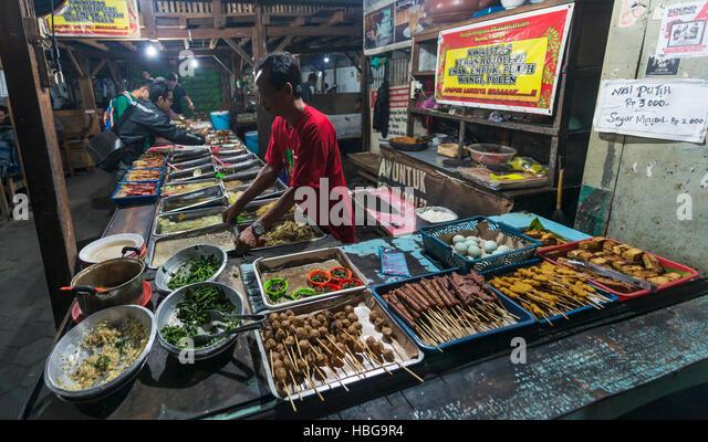 Various Indonesian foods at booth, seller, Food Market, Yogyakarta, Java, Indonesia - Stock Image