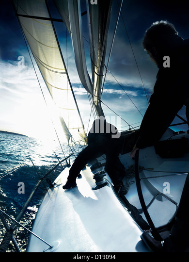 Two sailors on yacht - Stock Image