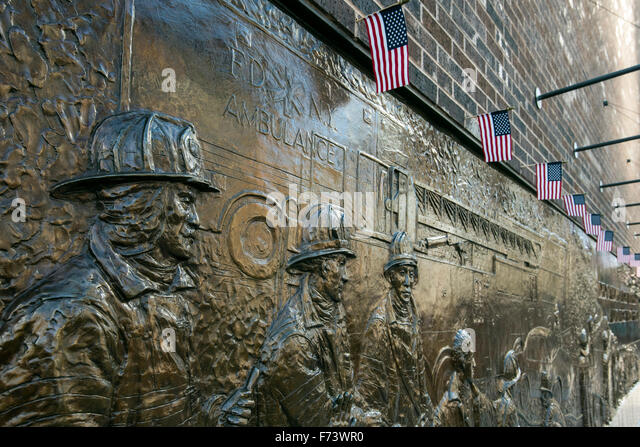 Bronze wall mural dedicated to the fallen firefighters of September 11, World Trade Center, Lower Manhattan, New - Stock Image