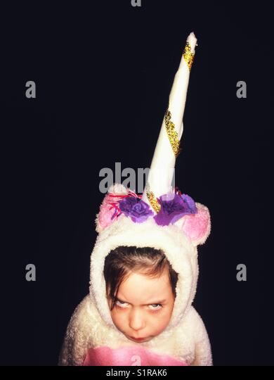 Angry unicorn - Stock Image