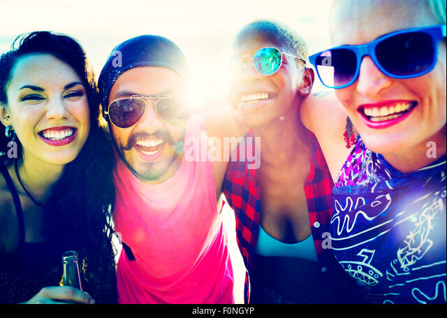 Friends Friendship Vacation Togetherness Fun Concept - Stock-Bilder